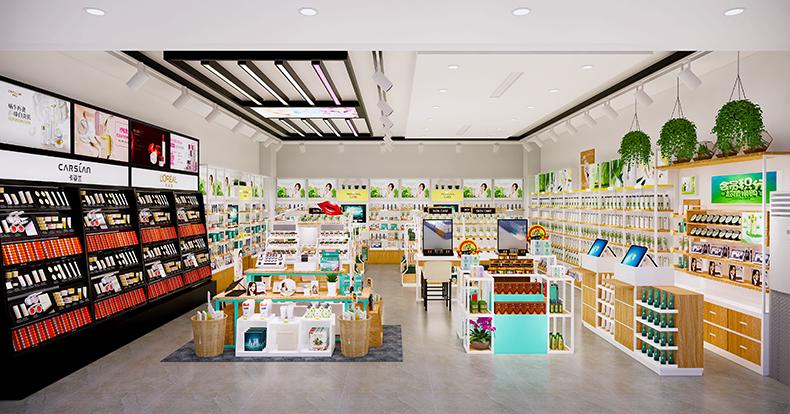 化妆品店铺货架空间设计